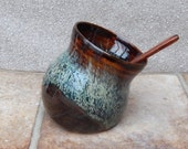 Salt pig or cellar hand thrown stoneware pottery with a rosewood teaspoon handmade ceramic wheelthrown