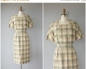 30% OFF FLASH SALE.. Vintage 1950s Dress | Vintage 50s Dress | 1950s Linen Dress | 50s Day Dress | 1950s Sheath Dress