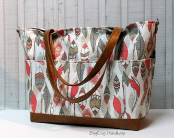 Grey and Coral Feathers with Vegan Leather - with Outside Pockets - Tote Bag /  Diaper Bag  / Large Bag