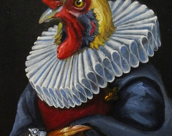 Gentleman Cluck - original whimsical painting by Kellie Marian Hill