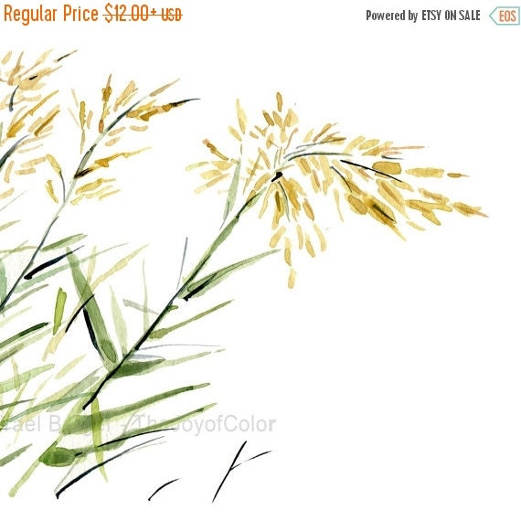 Holiday sale Blowing in the Wind Art print, watercolor painting, bamboo plants on a windy day, Green, yellow, nature art , minimalist landsc