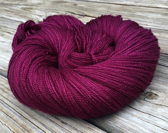 Song of the Sirens hand dyed lace weight yarn maroon merino silk yarn semisolid lace yarn 875 yards super fine merino cranberry magenta