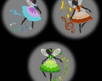 DANCING FAIRIES (5inch) - 10 Machine Embroidery Designs Instant Download 5X7 hoop (AzEB)