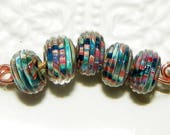 Multicolor with Ridges Boro Lampwork Round Beads - 5 Pieces  Lot