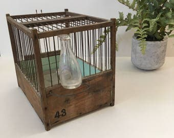 Antique Traveling Bird Cage w/ Blow Glass Feeder