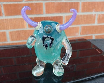 Ready to Ship!!! Blue Color Changing Swirly Horned Kooky Monster