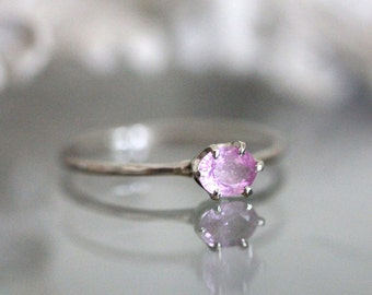 Pink Princess - Pink Sapphire 14K Gold Ring, Gemstone Ring, Stacking Ring, Eco Friendly, Recycled Gold - Made To Order