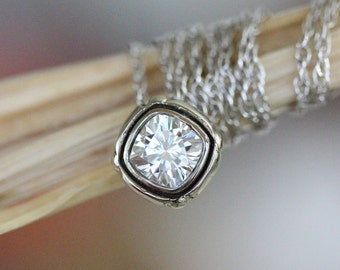 Antique Square Cushion Forever Brilliant Moissanite 14K Gold Necklace, Halo Pendant, Vintage Inspired, Recycled, Eco Friendly -Made To Order