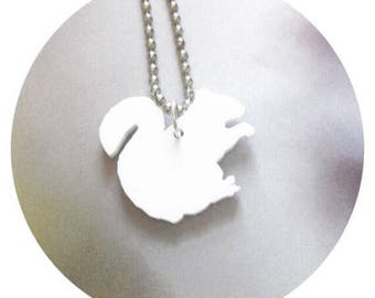 White Squirrel Necklace in Laser Cut Acrylic, Small Woodland Animal Jewelry