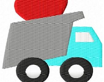 Dump Truck Hearts Mini Machine Embroidery Design