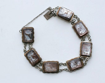 1920s Roman abalone shell depicting 7 days of week Gods and Goddesses / 20s antique art deco silver hand-carved abalone link cameo bracelet