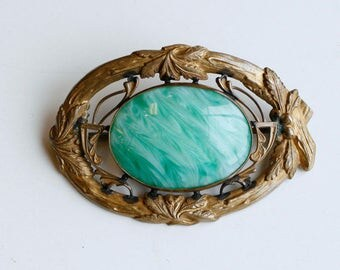 1910s Edwardian brass and green marbled glass sash pin / antique teens brass and glass large brooch
