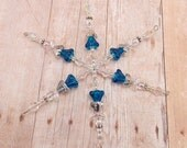 Snowflake Ornament - Blue Angels - Six Angels - Sparkle - Clear - Shiny - Aurora Borealis