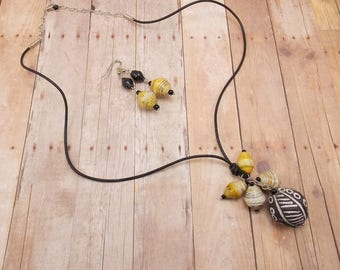 African Clay Bead Necklace and Earring Set - with Rwandan Paper Beads - Black Leather Cord with Golden Yellow, Black and White Beads