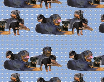 Rottweiler Family Group Fabric