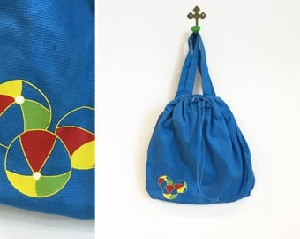 Vintage 1990s Liz Claiborne Beach Ball Draw String Backpack