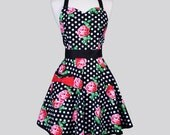 Sweetheart Retro Apron / Pink Roses on Black with White Dots Womens Vintage Full Cute Pin Up Apron Gift for Her