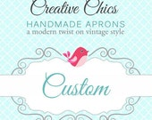 Custom Listing for Jenn Vendor Apron / Aqua Stripes and Dots as shown in images 3 and 4