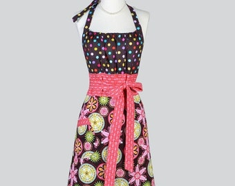 SALE Cute Kitsch , Womens Retro Apron in Colorful Floral Blooms and Polka Dots Vintage Style Kitchen Apron Birthday Gift Ideas
