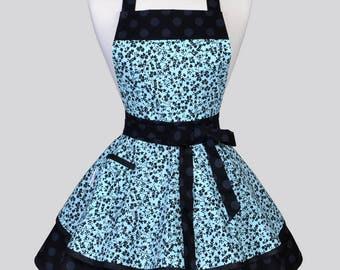 Womens Ruffled Retro Apron . Blue Black Vines on Black Polka Dots Womans Vintage Kitchen Pinup Kitchen Apron to Personalize or Monogram