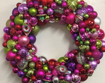 Adorable Retro Pink Red Purple Green yellow  Silver Holiday Christmas Ornament Wreath