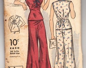 Vintage 1938 DuBarry 1609B Sewing Pattern Misses' Two-Piece Pajamas Size 16 Bust 34