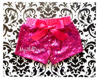 Hot Pink sequin shorts , Baby Girls hot pink Sparkle Sequin SHORTS- girls birthday- girls sequin shorts-toddler shorts- toddler sequin short