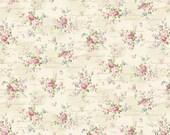 Ruru Bouquet Love Rose Love Cotton Fabric Rose ru2300-15a  Small  Roses on Cream with Script