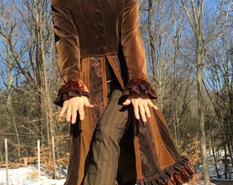Vintage velvet mocha jacket upcycled ooak
