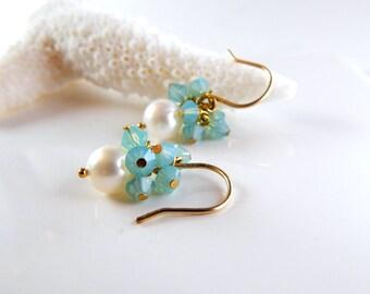 Pearl Seafoam Crystal Earrings ~ AdoniaJewelry