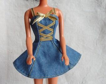 Barbie denim minidress with gold lacing