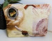 leonardo da vinci fabric  purse, make up bag , crafts  , handmade,Claudia Candeias, ready to ship