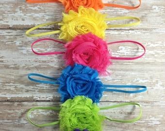 30% OFF SPRING SALE Set of 6 Flower Headbands, Bright Colors, Baby Headbands, Infant Headband, Newborn Headbands, Baby Shower Gift, School B