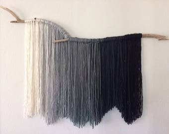 Ivory to Black Yarn Wall Hanging
