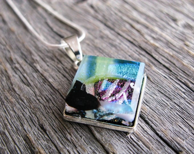 fused glass, glass jewelry, fused glass pendants, glass art, glass fashion, square necklace, statement necklace, mother gift, friend present