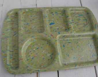 Vintage Prolon Tray Melamine Confetti Lime Green