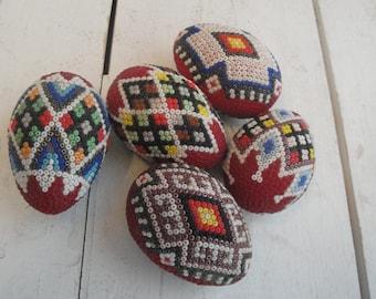 Vintage Eggs Beaded Romanian Set of 5