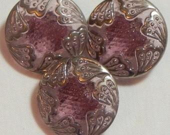 Six Fans Czech Glass Button (3)