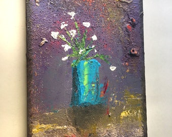 8.5 x 11 Flowers Abstract Art Acrylic Painting on canvas Ready to hang with hanger Contemporary Mixed Media Modern Paint Wall Original