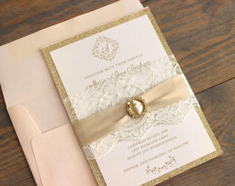 Lace Wedding Invitation, Gold Glitter Wedding Invitation, Blush and Gold Wedding Invitation Suite, Glam Wedding Invitations, Elegant Wedding