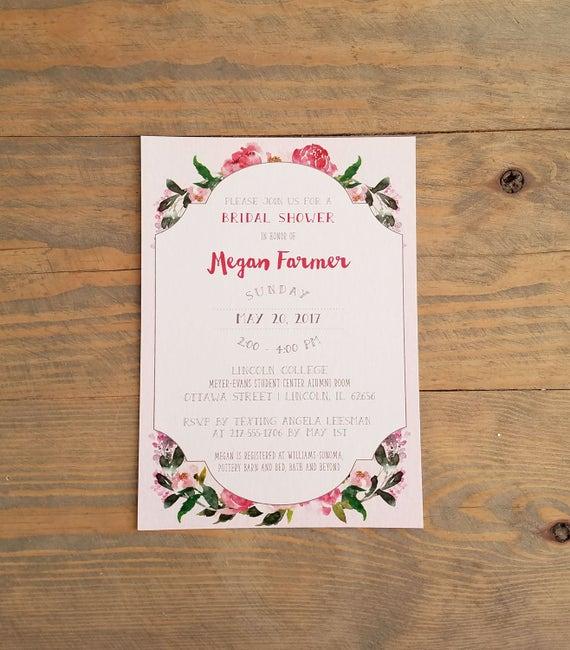 Boho Bridal Shower Invitation, Blush Bridal Shower Invitation, Botanical Bridal Shower Invitation, Bridal Shower Invitation, Bridal Shower