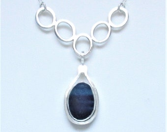 Sea Glass Jewelry - Sterling Rare Victorian English Sea Glass Necklace