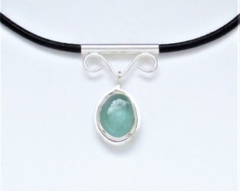 Sea Glass Jewelry - Sterling Aqua Sea Glass Choker Necklace
