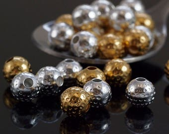 40 Silver Or Gold Plated Dimpled Round Beads