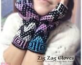 Zig Zag Fingerless Winter Gloves - Mosaic Crochet, Retro, fashion gloves