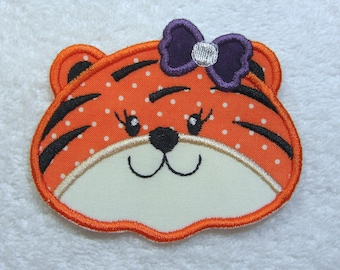 Girlie Tiger Head Fabric Embroidered Iron on Applique Patch Made to Order