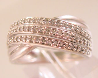 2/3ct Genuine Diamond Crossover Wrap Band Ring Sterling Silver Size 7 Signed KN Vintage Jewelry Jewellery