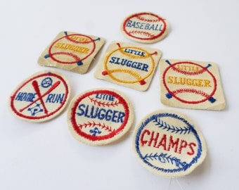 Vintage Baseball Patches, Slugger Patch, Champs Patch, Home Run Patch, Baseball Lover Gift, Kids Baseball Patches, Little League Patches