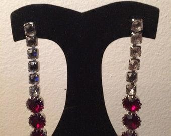 Vintage Glamorous Shoulder Duster 4 inch Ruby Red Clear Rhinestone Old Hollywood Dangle Rhodium Pierced Earrings