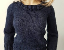 White knitted cotton sweater to fit MSD size dolls such as Dollstown DT7, Iplehouse JID, Kish Chrysalis  and similar.